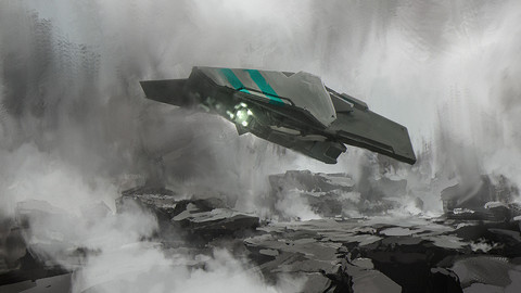 Sci-Fi Environment + Spaceship PSD