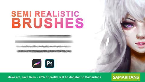 Semi-Real Brush Set 🖌️ (Photoshop and Procreate)