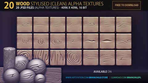 20 Wood STYLISED Alpha Textures - 4k, 16bit | © www.brainchild.pl