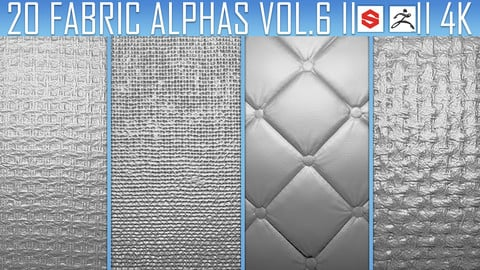 20 Fabric Alphas Vol.6 (ZBrush, Substance, 2K)