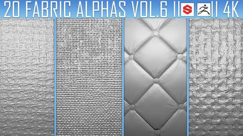 20 Fabric Alphas Vol.6 (ZBrush, Substance, 2K)