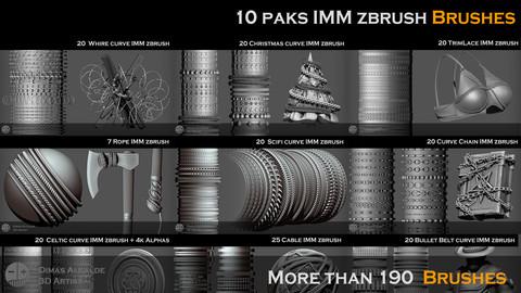10 Paks IMM zbrush Brushes (More than 190  Brushes)