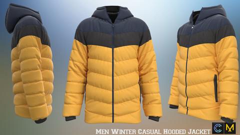 Men Winter Casual Hooded Jacket , marvelous designer,clo3d