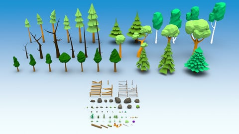 Low Poly Nature Trees stones mushrooms flowers and grass