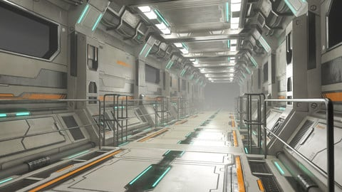 Sci-Fi Modular Corridor Version 2 - Low Poly