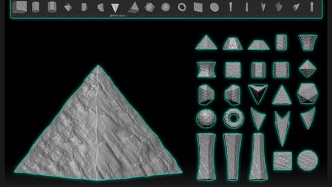 25 IMM BRUSH ROCK PRIMITIVES FOR ZBRUSH