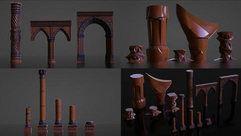 Pillars Set - Fantasy Stone Sci-Fi