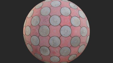 Circular Stone Tiles PBR Texture
