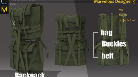 Green Military Backpack MD_Bag Game Asset