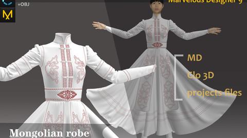 White Long Dress_Mongolian Robe/Dress_Clo3d, Marvelous designer.