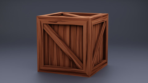 Stylized Wood Crate V1 (Game Prop)