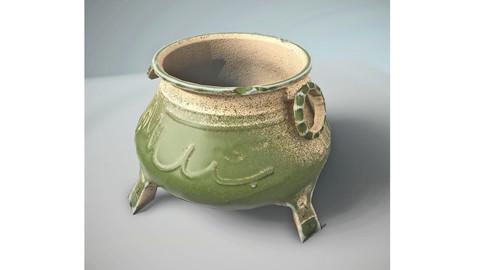 Cauldron Medieval VR AR low-poly 3d model Low-poly 3D model