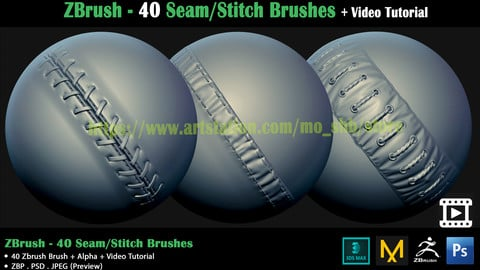 ZBrush - 40 Seam/Stitch Brushes + Video Tutorial