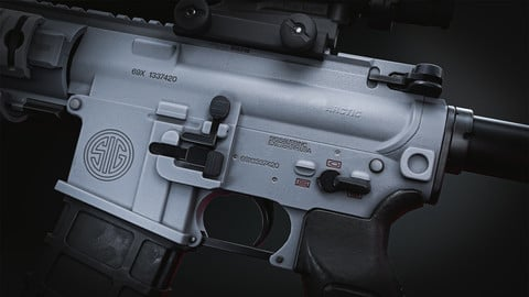 "Arctic - White SIG 516 with ""SOPMOD"" Accessories"