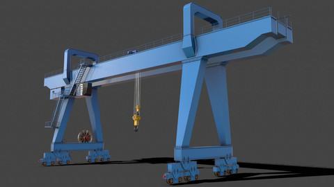 PBR Double Girder Gantry Crane V2 - Blue Light
