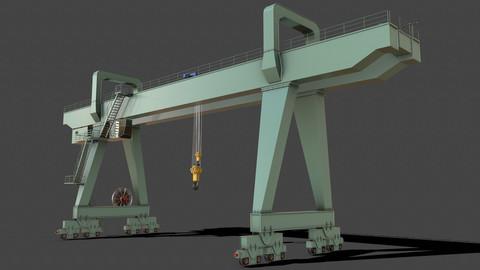PBR Double Girder Gantry Crane V2 - Green Light