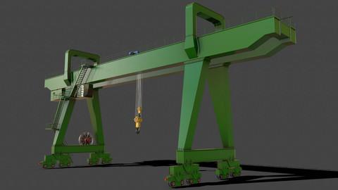 PBR Double Girder Gantry Crane V2 - Green