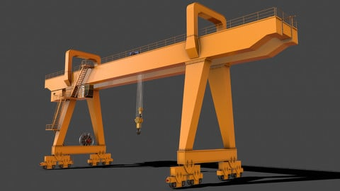 PBR Double Girder Gantry Crane V2 - Yellow Dark
