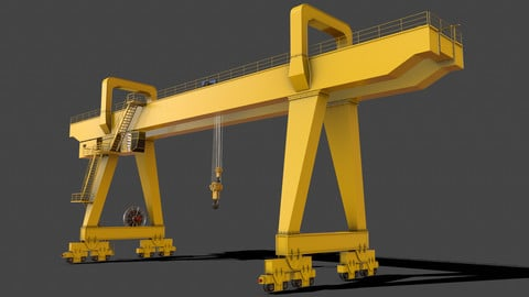 PBR Double Girder Gantry Crane V2 - Yellow Light
