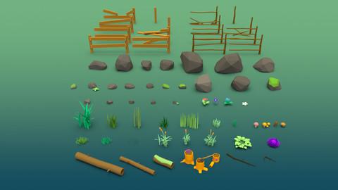 Stones grass flowers and mushrooms