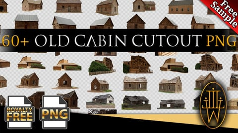 Old Cabin Photo reference pack - 60+ PNG - Free Sample