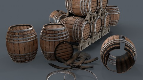 Old wine barrells 3d model