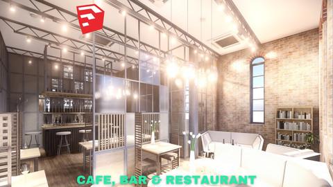 Intimate Cafe, Bar & Restaurant Scene - SketchUp