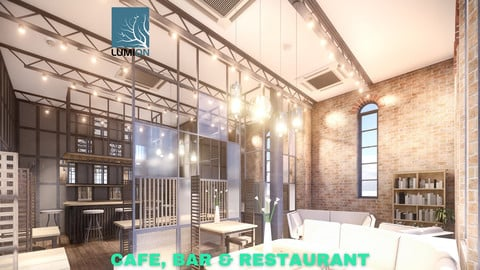 Intimate Cafe, Bar & Restaurant Scene - Lumion - Low Poly