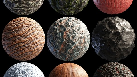 library of high quality PBR materials for 3D