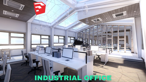 Industrial Office on Attic with Skylights Scene - SketchUp - Low Poly