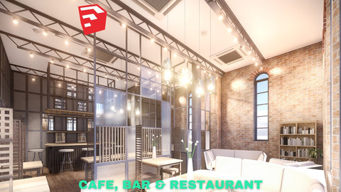 Intimate Cafe, Bar & Restaurant Scene - SketchUp - Low Poly