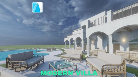 Modern Villa with Private Pool on Beachfront Scene - Archicad - Low Poly
