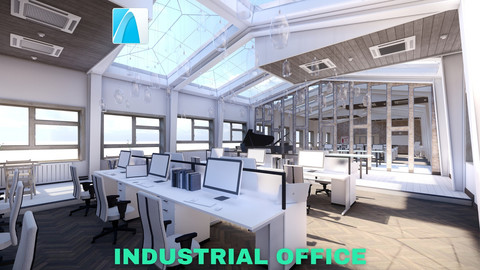 Industrial Office on Attic with Skylights Scene - Archicad - Low Poly