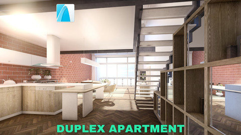 Modern Duplex Apartment Scene - Archicad - Low Poly