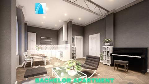 Bachelor Studio Apartment Scene - Archicad - Low Poly