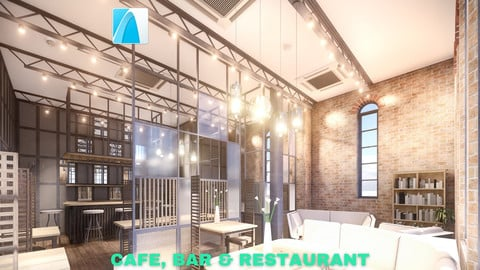 Intimate Cafe, Bar & Restaurant Scene - Archicad - Low Poly