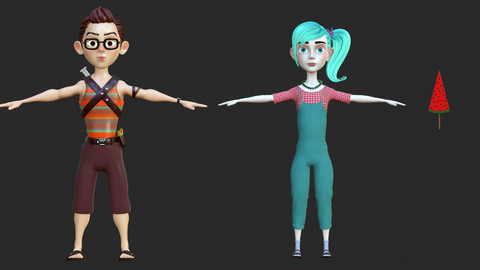2 Rigged Stylized Character Boy and Girl - Clark and Julie - Blender Cycles and Eevee