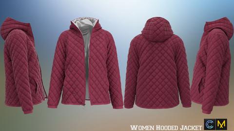 Women Hooded Jacket , marvelous designer,clo3d