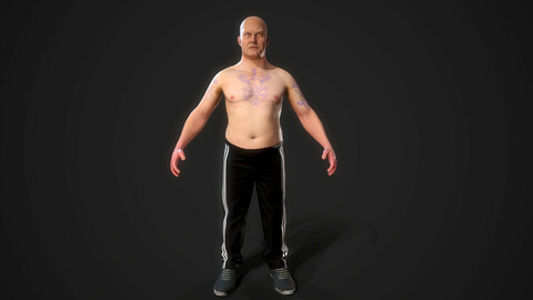 Russian man gopnik. Rigged. Low-poly 3D model