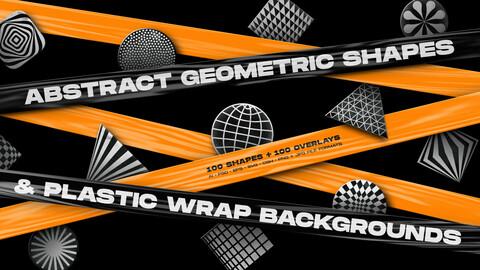 Abstract geometric shapes & Plastic wrap backgrounds bundle