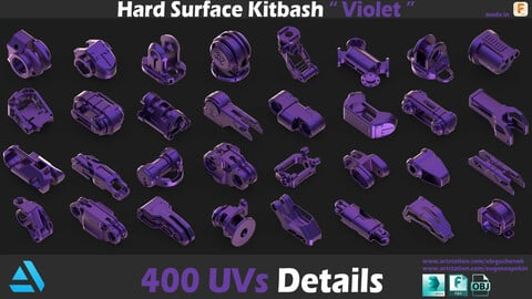 Sci-Fi Hard Surface Kitbash 400 Details