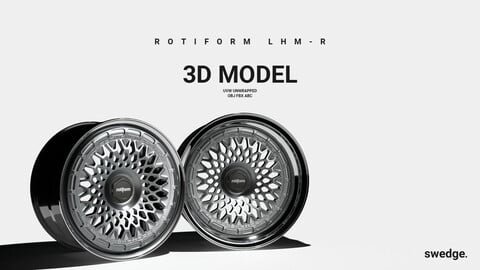 Rotiform LHM-R Front and Rear Wheel Pack // 3D Model, Unwrapped