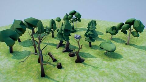 low poly vegetation set 03 free
