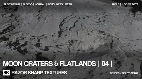 8K Moon craters & flatlands | 04 | PBR