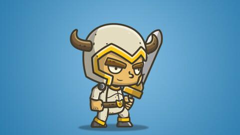 Chibi White Armored Knight 2D Sprite