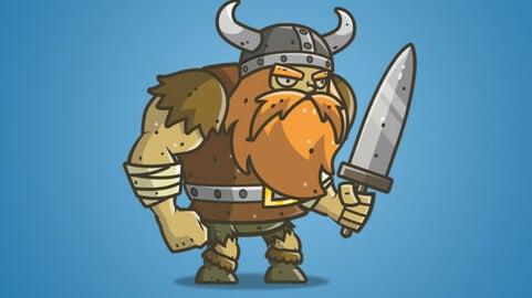 Chibi Muscular Viking 2D Character Sprite