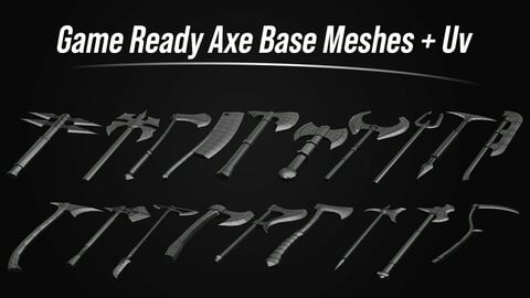 Game Ready Axe Base Meshes With Amazing Topology And Uvs