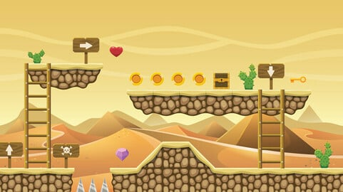 Egyptian Themed 2D Game Platformer Tileset