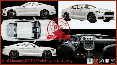Ford Mustang GT 3D Model Hq Interior (Big Discount For 3 Days Only 3.99 )