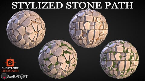Stylized Stone Path Material Pack